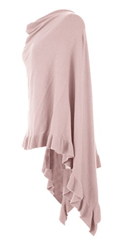 Pink Batwing Cape Poncho Cashmere Lagenlook Frill Hem One Light Size Knit Top Womens Ladies 4EpOx