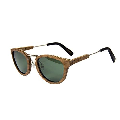 madera en hombre sunglasses AQUA UV400 madera sol Nogal gafas redonda y mujer polarisado de WOLA PYwIvzUxqU
