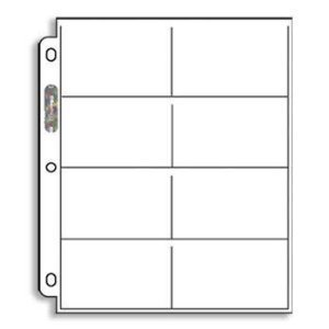 20 (Twenty) Single Ultra Pro 8-Pocket Pages - Eight Pockets Page (8 Top Load / Horizontal Slots)