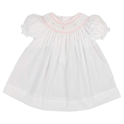 Petit Ami Baby Girls' Bishop Smocked Short Sleeve Dress, Newborn, White