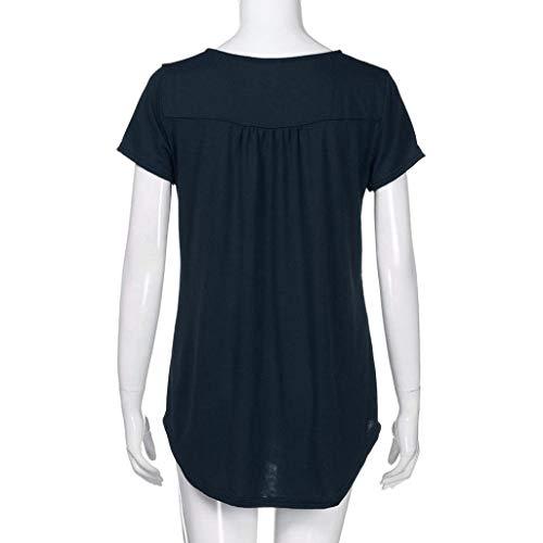 Shirts Manches Tops Branch T Shirt lgant Casual Haut T Col Vetement Plier Button Manche Mode Navy Courtes Femme Irrgulier Basic Et Uni Rond ZTqzwRza