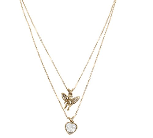 "Betsey Johnson ""Heaven Sent"" Angel and Heart Double Pendant Necklace, 15″ 31Ek912XOEL"