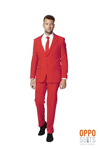 [Red Dress Suit For Men (Slim Fit) Colored Blazer Jacket, Pants, Party Costume] (Devil Masks For Sale)