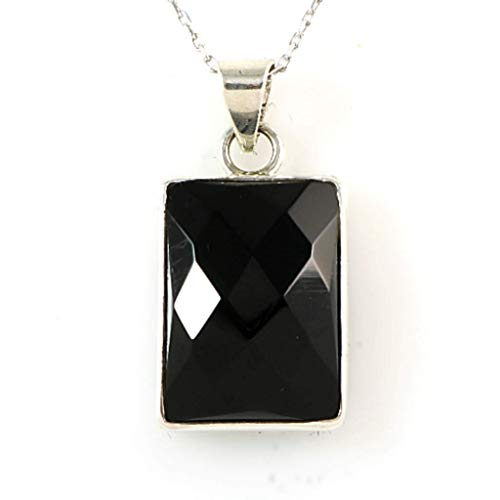 Women's Sterling Silver Natural Black Onyx Faceted Rectangular Pendant Necklace 16+2'' - Onyx Pendant Faceted