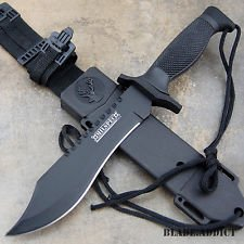 12 Tactical Bowie Survival Hunting Knife w/ Sheath Military Combat Fixed Blade