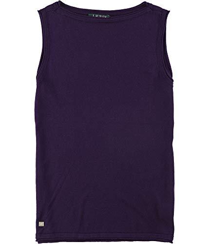 (Lauren Ralph Lauren Women's Knit Silk-Blend Sleeveless Top-P-XXL Purple)