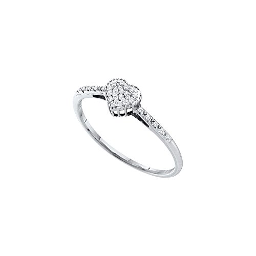 14kt White Gold Womens Round Diamond Heart Love Ring 1/12 Cttw by JawaFashion