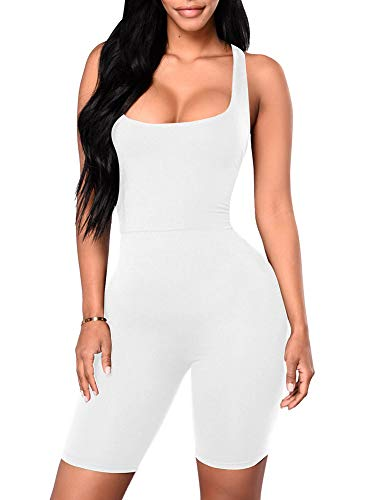 YMDUCH Women's Sexy One Piece Tank Top Backless Bodycon Club Short Jumpsuit White2, X-Large -