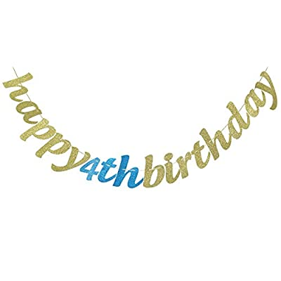 Happy 4th Birthday Glitter Garland Banner-Happy 4th Birthday Party Supplies (Gold & Blue): Toys & Games