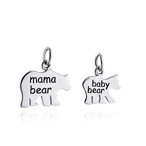 r Pendants- 925 Sterling Silver - Set of 2 Mom Child - Jewelry Accessories Key Chain Bracelets Crafting Bracelet Necklace Pendants ()