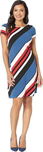 Adrianna Papell Women's Diagonal Striped Ottoman A-Line Dress Blue/Red Multi 2