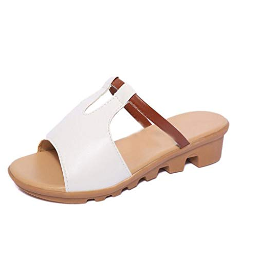 (Women Breathable Wedges Sandals Wedges Casual Outdoor Beach Flat Slippers White)