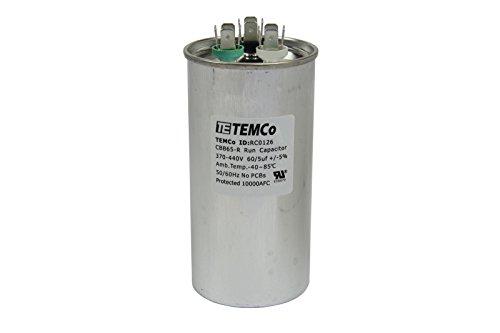 TEMCo 60+5 uf/MFD 370-440 VAC Volts Round Dual Run Capacitor 50/60 Hz AC Electric - Lot -1