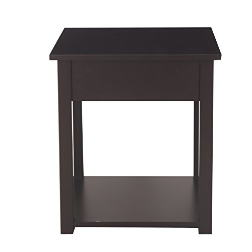 Mission Style Wine Cabinet (ELEGAN Mordern Simple Home Living Room Bed Room Square Side / End Table Night Stand (Dark Brown))