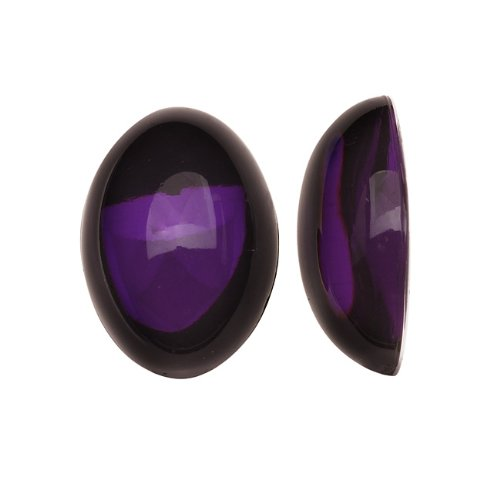 Beadaholique Vintage Lucite Plastic Oval Domed Cabochon - Amethyst/Foiled 13x18mm (8)
