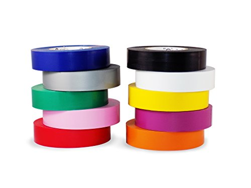 T.R.U. EL-766AW Rainbow Pack General Purpose Electrical Tape 3/4 (W) x 66 (L) UL/CSA listed core. Utility Vinyl Synthetic Rubber Electrical Tape (10 Pack) - Suitable for Use At No More Than 600V