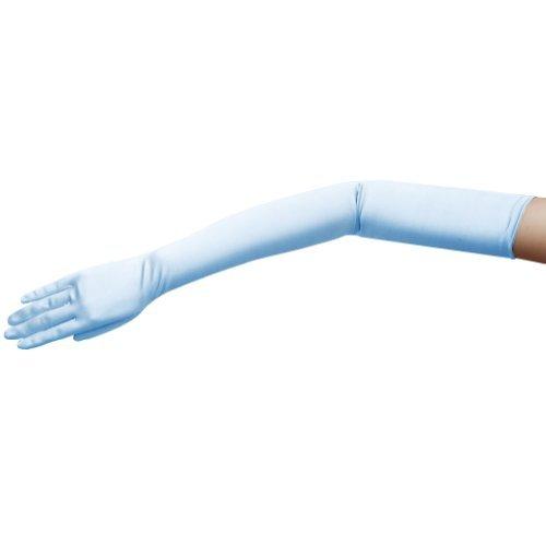 Long Nylon Light Blue Gloves (ZaZa Bridal 23.5