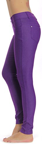 Prolific Health Women's Jean Look Jeggings Tights Yoga Many Colors Spandex Leggings Pants S-XXL (Medium, - Purple Pants Stretch