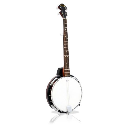 Pyle 5-String Geared Tunable Banjo with White Jade Tune Pegs & Rosewood Fretboard Polished Rich Wood Finish Maplewood Bridge Stand & Truss Rod Adjustment Tool