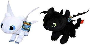 HTTYD Dragons, como Entrenar a tu dragón - Pack 2 Peluches Furia Luminosa (Light Fury) + Desdentao (Toothless) - Calidad Super Soft 11'80