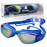 Swim Goggles Anti Fog, Safe UV Protection Ear Plug Plus Wide Angle Clear