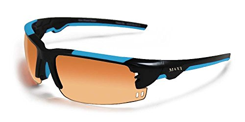 2017 Maxx Sunglasses TR90 Maxx Wizard HD Black w/ Light Blue Amber - Maxx Sunglasses