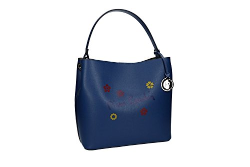 Woman Hand Bag Pierre Cardin Blue Leather Made In Italy Vn1434