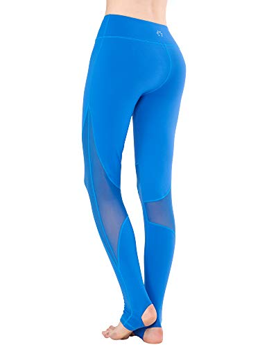 - Zeronic Women Mesh High Rise Foot Stirrup Yoga Leggings Tummy Control Pants (Blue, Large)