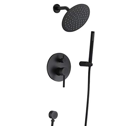 (Black Shower Fixtures, Matte Black Shower Faucet Set, Black Shower System with Rain Shower and Handheld,Sumerain)
