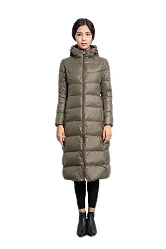 Women's Down Jacket Lightweight Padded Outerwear with Hood Armeegrün
