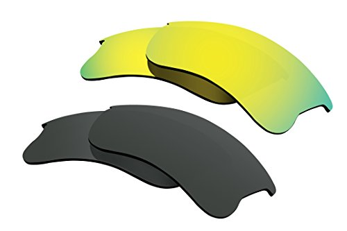 (Polarized Lens Replacement Compatible with Oakley Flak Jacket XLJ Sunglass 2 Pairs of Lenses Pack Black + Gold)