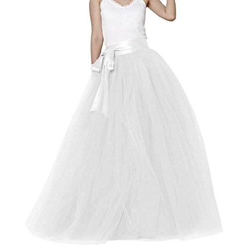 EllieHouse Womens Long Tutu Party Evening Tulle Skirt White Size M PC05
