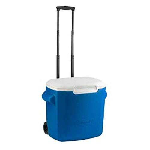Wheeled Cooler, Wheeled Ice Chest Cooler (28 Quart, Coleman Blue)
