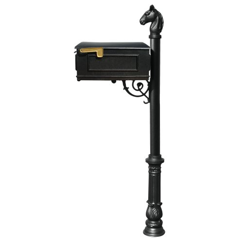Qualarc Lewiston Cast Aluminum Post Mount Mailbox System with Post, Aluminum Mailbox, Ornate Base and Horsehead Finial, Black, Ships in 2 Boxes