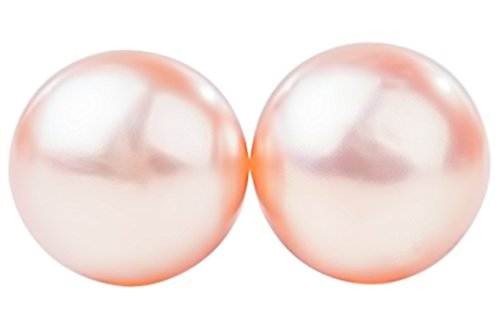 Peach Freshwater Pearl Stud Earrings Sterling Silver 10mm ()