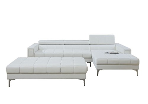 Modern Contemporary Bonded Leather Sectional Sofa with Oversize Ottoman (White)