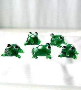 Ribbit! 5 Hand Made Glass Lampwork Frog Beads 008478 Spacer Beads and Roll Crystal String for Bracelets Jewelry Making