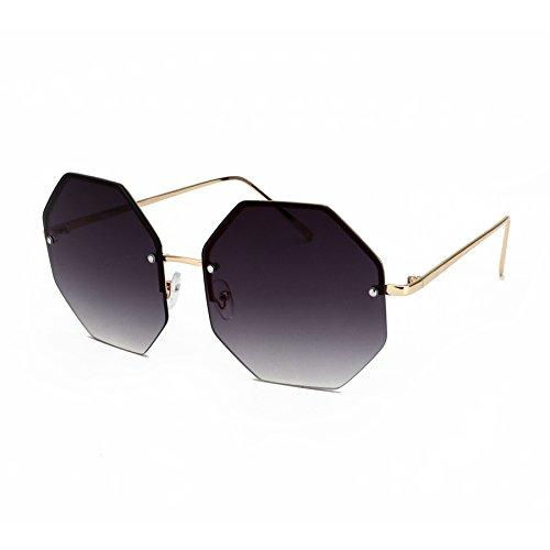 Klassische Sonnenbrille Randlose Lente Gläser Form Designer Stilvolle Platz Oversize gris Lente Frauen KXLEB Gris zfB6qE