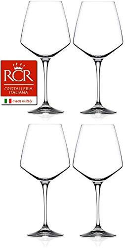 RCR Cristalleria Italiana Aria Collection 4 Piece Crystal Wine Glass Set (Red Wine (26.5 oz) – 4 Piece Set)