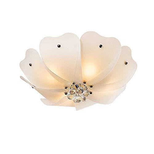 Petals 5 Light Chandelier - BOKT Morden Lighting Elegant 4 Light Crystal Chandelier Flush Mount Ceiling Light, 20 Inches, Frosted Glass Petal Lampshade for Bedroom Living Room Hallway