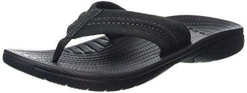 Genuine Leather Croc (crocs Men's Yukon Mesa M Flip Flop, Black/Black, 9 M)