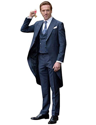 YZHEN Men's Suit Three Pieces Set Peak Lapel Tailcoat Wedding Tuxedo Navy Blue ()