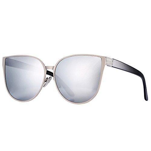 Pro Acme New Women Oversized Metal Frame Mirrored Flat Lens Cat Eye Sunglasses (Silver Mirrored - Prescription Cat Sunglasses Eye