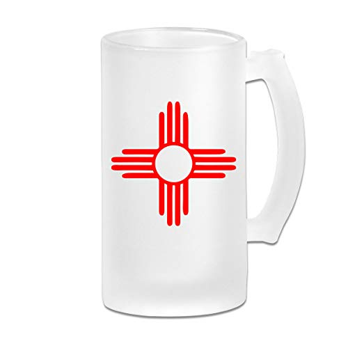 Double Wall Frosty Beer Mug - Durable New Mexico Sun Zia Freezer Beer Stein With Handle - 16oz ()