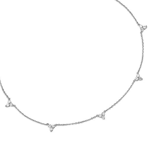 espere Sterling Silver Triple Cubic Zircon Stones Cluster Choker Chain Necklace 14-16 Inch, White Gold Finish
