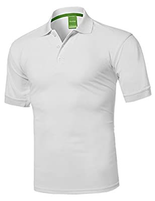 Youstar Men's Solid Cool Dri-Fit Active Athletic Golf Short Sleeves Polo Shirt