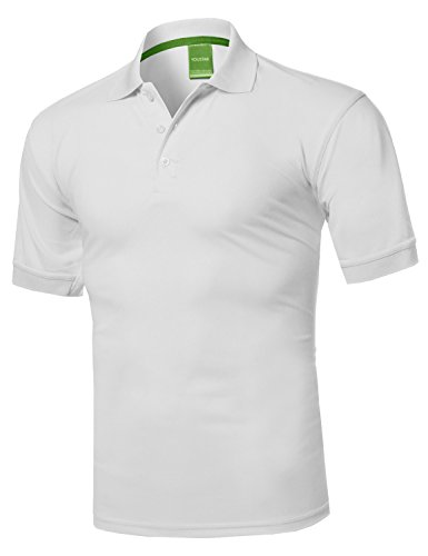- Solid Dri-Fit Active Athletic Golf Short Sleeves Polo Shirt White M