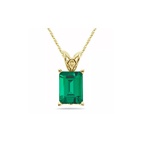 3.26-4.50 Cts of 11x9 mm AAA Emerald Lab Created Emerald Scroll Solitaire Pendant in 14K Yellow Gold