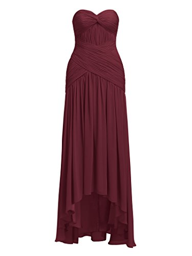 Prom Evening Bridesmaid Burgundy High Low Gowns Dresses Alicepub Chiffon TRYxqn