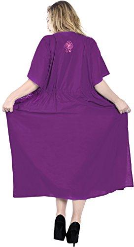 La Leela dames 5 en 1 brodé maillot bain bikini couvrent tunique robes nuit chemises beachwear plus la taille loungewear robes chambre rayonne soirée des femmes à long cordon robe maxi caftan magenta